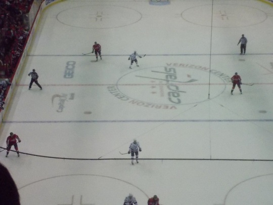 The Washington vs. Tampa April 13 2013 NHL game.  (Washington in red)